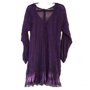 Love Stitch purple sheer long sleeved dress